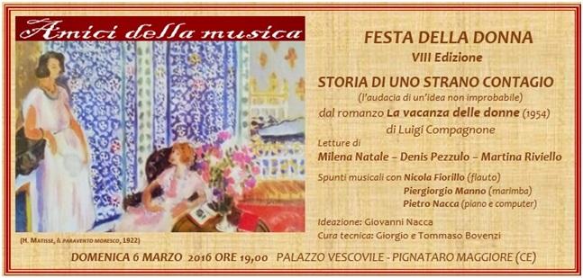 """Festa della Donna con Letteratura e Musica per gli """"Amici della Musica"""" di Pignataro Maggiore"""