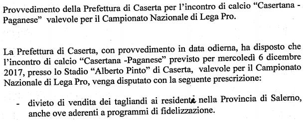 Campionato Nazionale di Lega Pro: la Prefettura di Caserta vieta la trasferta ai tifosi della Paganese