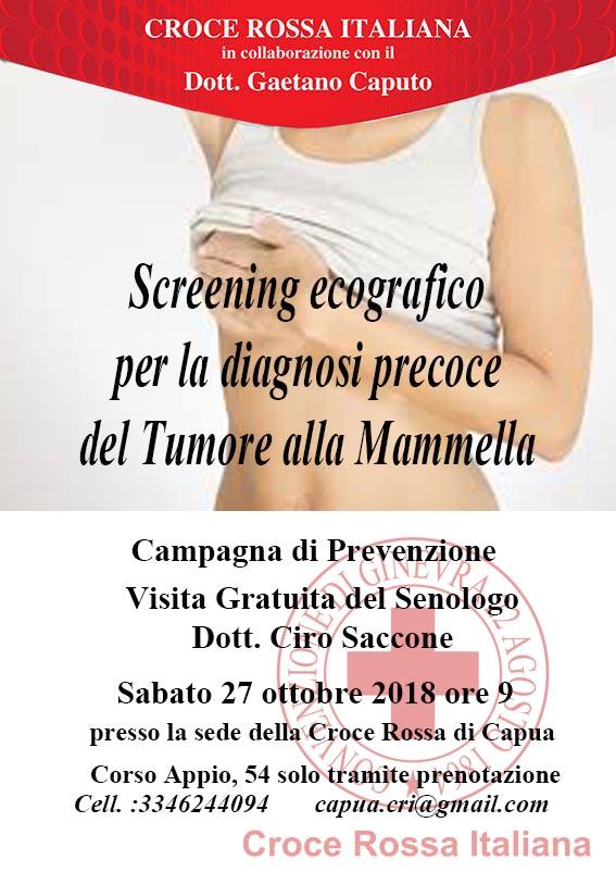 Sabato 27 ottobre 2018 giornata di prevenzione per il tumore della mammella. Azione sinergica tra Croce Rossa Italiana, sezione di Capua e Gaetano Caputo