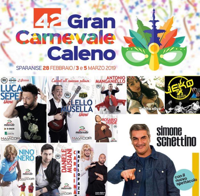 Torna il Gran Carnevale Caleno: maschere, carri e il cabaret di Simone Schettino