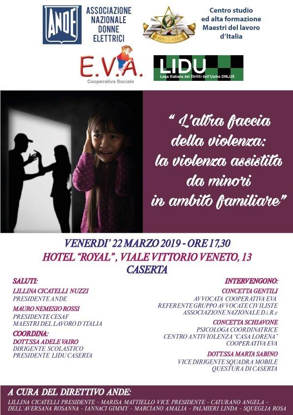 Il 22 marzo 2019 convegno sulla Violenza assistita